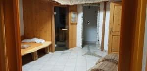 Sauna und Infrarotkabine und Heubett